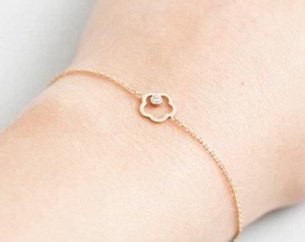 14K Gold Bracelet, Dainty Gold Bracelet, Flower Gold Bracelet, Flower Diamond Bracelet, Gold Diamond Bracelet, Everyday Jewelry, GB0284