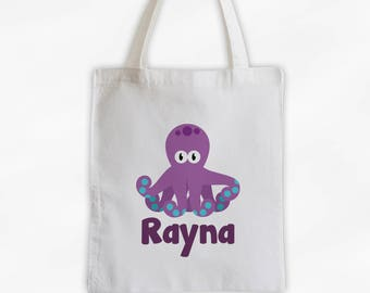 Personalized Octopus Canvas Tote Bag - Sea Animal Custom Travel Overnight Bag for Boys or Girls - Ocean Reusable Tote (3045)