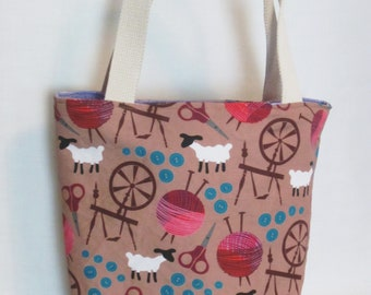 Large Knitting or Crochet Project Bag. Sheep and Spinning Wheels Canvas Tote Bag with Pockets.