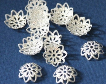 100 pcs of silver plated brass  filigree bead caps 12mm