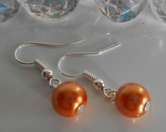 Wedding earrings orange bronze beads