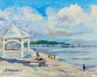 Original Oil Painting, Impressionist Landscape, Bright summer day, Sopot beach, holiday painting, 16x12in