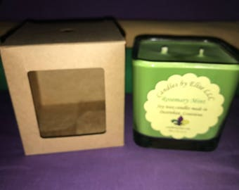 12 oz Rosemary mint soy wax candle in square jar