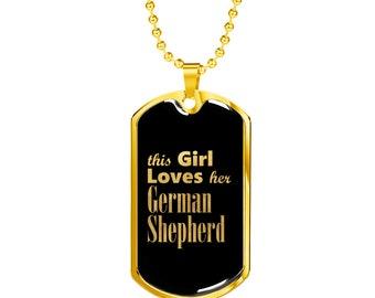 German Shepherd v2 - 18k Gold Finished Luxury Dog Tag Necklace, Dog Tag Pendant