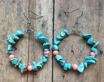Turquoise and coral beaded earrings