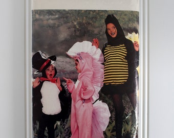 Unicorn, Spider, Bumble Bee Costume Girls', Boys' Butterick Sewing Pattern 6848 Size 4, 5, 6, 7, 8, 10, 12, 14 Top Hat, Bow Tie, Wings