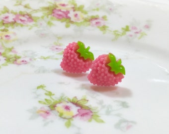 Pink Strawberry Studs, Little Fruit Studs, Kawaii Stud Earring, Surgical Steel, Pink Fruit Stud, Bumpy Strawberry Stud, KreatedbyKelly (SE5)