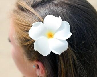 White Plumeria Hair Clip, White and Yellow, 3 inch, Bridal Hair Clip, Flower Girl