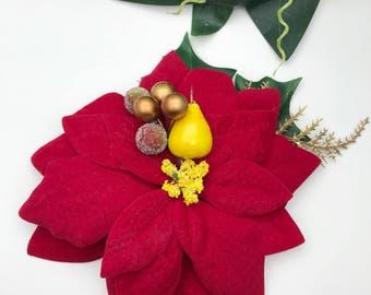 Handmade Red Poinsettia, Pear & Berry Hair Flower Clip / Brooch