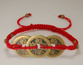Good Luck Chinese Coin Bracelet,Hemp,Good Luck String Bracelet,Drawstring Bracelet,Pray,Men,Woman,Yoga,Mala,Protection,Meditation,Gift