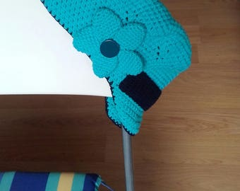 Crocheted cap/cap with hand-made visor. Youthful and fun.