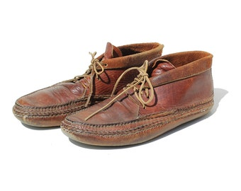 Vintage Men's Brown Leather Moccasin Boots / size 10