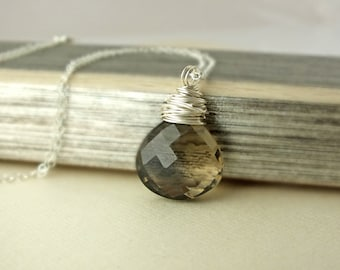 Smoky Quartz Necklace, Smoky Quartz Jewelry, Brown Gemstone Necklace, Quartz Necklace, Brown Gemstone, Smoky Quartz,