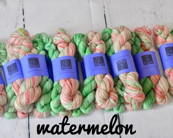 Hand dyed self-striping yarn | Handdyed - Wool - Merino-Nylon | Watermelon