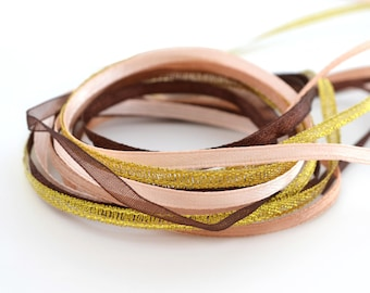 Mix 1 M of ribbons satin and organza rose, gold and Brown 3mm