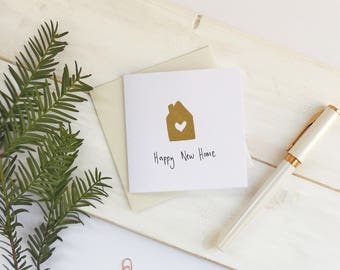 New home card. House warming card. Housewarming card. Personalised new home card. New house card. Moving card. Gold house card.