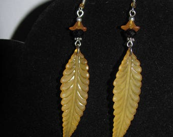 Yellow Lucite Orange feather earrings