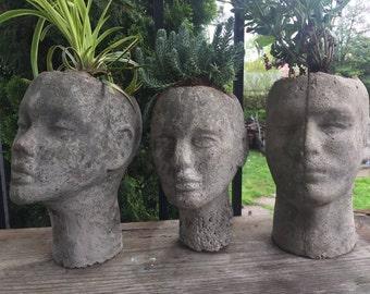 Cast Concrete Head Planter