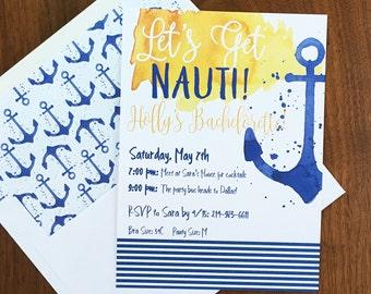 Bachelorette Invitations - Back Itinerary- Nautical Bachelorette Invitations - Lets Get Nauti - Boat Bachelorette Invites