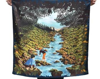 Twill of silk's scarf, square, landscape, hand-drawn, river, plants, blue, green, black and orange