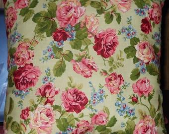Pink Rose Pillow, 14 X 14 Decorative Pillow