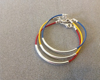 Bangle Boho Chic Trendy Cuff Set of Three Leather Bracelets Awareness Autism Red Yellow Blue Silver Plated Tube CL1532