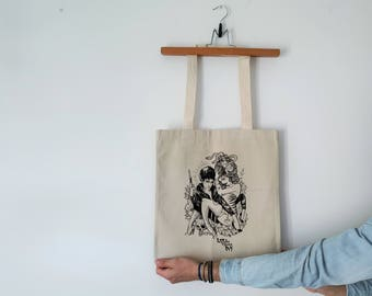 Tote Bag - Screenprint Over Cotton Canvas Tote Bag The Cramps