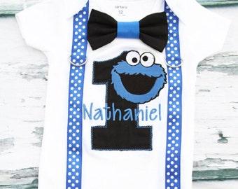 Boy first birthday shirt Cookie Monster Bow tie Suspenders Sesame Street Boy Cake Smash Boy first year outfit Boy first birthday, Boy Second
