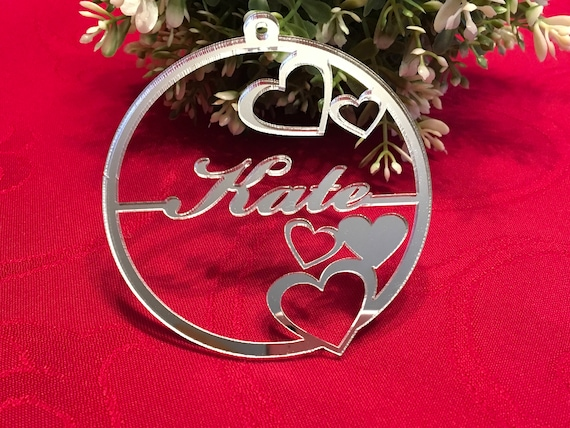 Silver Custom Ornament Valentines presents Personalised Name Bauble Tree Decoration Valentines Heart Love Birthday Gift for Him Gift for Her