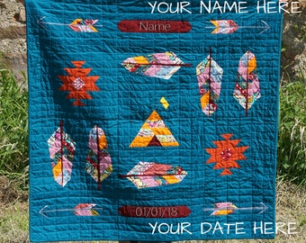 Powwow bright modern baby quilt  blanket - customizable - ready to ship