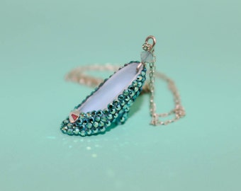 Cinderella Necklace - Crystal Doll Shoe Necklace Teal Alice inspired