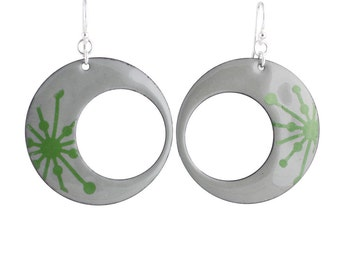 Green Starburst Eclipse Enamel Earrings