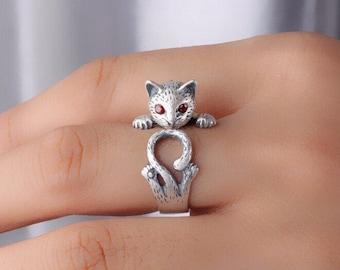 Cat Ring, Silver Cat Ring, Rhinestone Eye Cat Ring, Silver Ring, Adjustable Ring