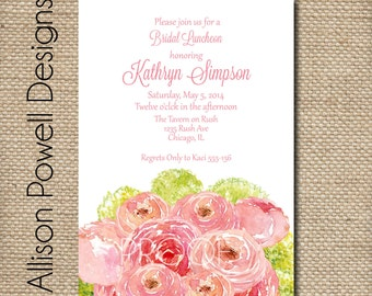 Spring Flower Bouquet Bridal Shower/Luncheon Elegant Invitations - Print your own