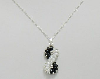 Beaded SuperDuo pendant,SuperDuo necklace,Beaded necklace,Black and White jewelry