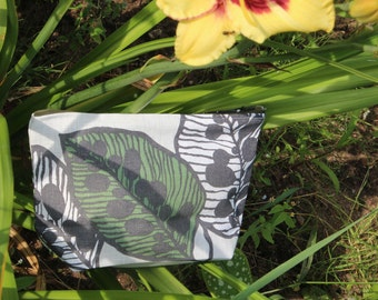 """Linen Cosmetic Bag """"Spring Leaves""""- Beautiful Linen Gift"""