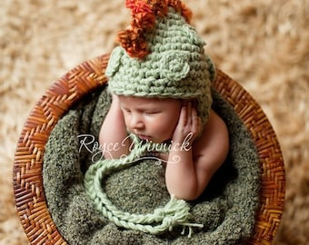 Baby Boy Hat Dinosaur Earflap Crochet Photography Prop Sizes Preemie, Newborn, 0-3 months, 3-6 months