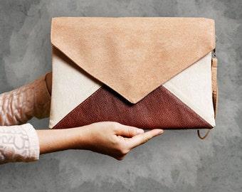 Sale! vegan Clutch bag envelope beige toffe brown vegan leather bag faux leather suede purse handbag pocket zipped wedding bridesmaid gift