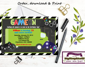 Video Gamer Birthday Game Truck Party Invitation and/or Party Package for Kids - Personalized Printable File