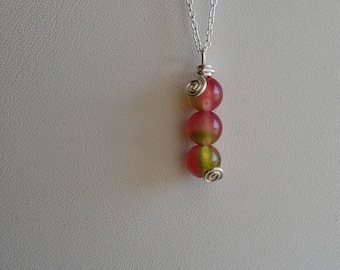 Watermelon Chalcedony Bead Necklace in Sustainably Sourced Sterling Silver - Fairy, Magical, Womans Necklace