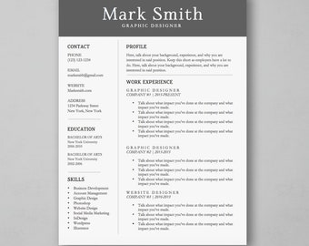 Professional Resume Template for Word - Resume Cover Letter - Simple Resume Design - MS Word *INSTANT DOWNLOAD*