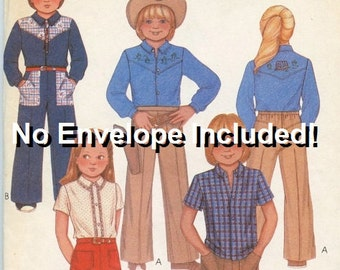 A Yoked Western-Style Short or Long Sleeve Shirt and Wide Leg Pants Pattern: No Envelope Included -Uncut - Children's Size 4 • McCall's 7626