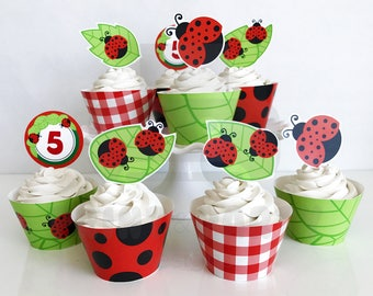 Printable Ladybug Cupcake Toppers and Wrappers, Ladybug Birthday Party, Ladybug Cupcakes, Edit Yourself, Instant Download