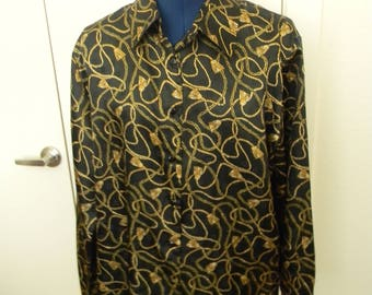 90's Versace Styled Brocade Shirt. Black And Gold