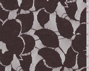 Chestnut Brown Floral Lace, Fabric By The Yard