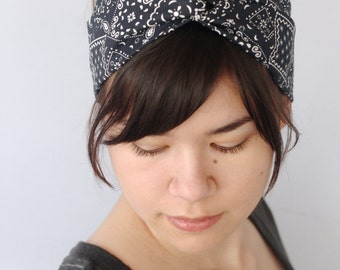 Bandana Turban Headband, Black Boho Turban Headwrap