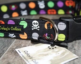 """Dog Collar, Dog Collars, Boy Dog Collar, Girl Dog Collar, Skull Dog Collar, Polka Dot Dog Collar, Halloween Dog Collar, """"Halloween Party"""""""