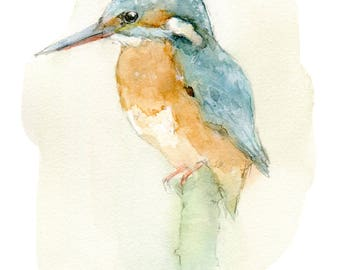 Common Kingfisher watercolor painting - bird watercolor painting - 5x7 inch print - 0196