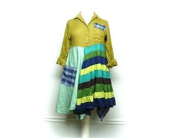 Long Boho Tunic, Artsy Clothing, Boho Chic Clothing, Lagenlook Style Clothing, Shabby Chic Dress, Upcycled Clothing by Primitive Fringe