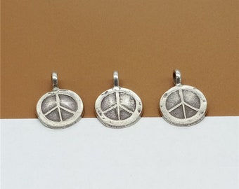 5 Karen Hill Tribe Silver Peace Charms, Higher Silver Content than Sterling Silver - TR656